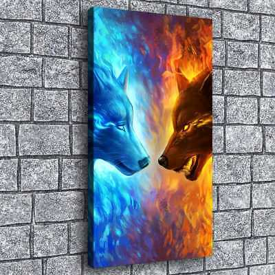 "Ice and Fire Wolf Picture 16""x28"" HD Canvas prints Painting Home Decor Wall art"