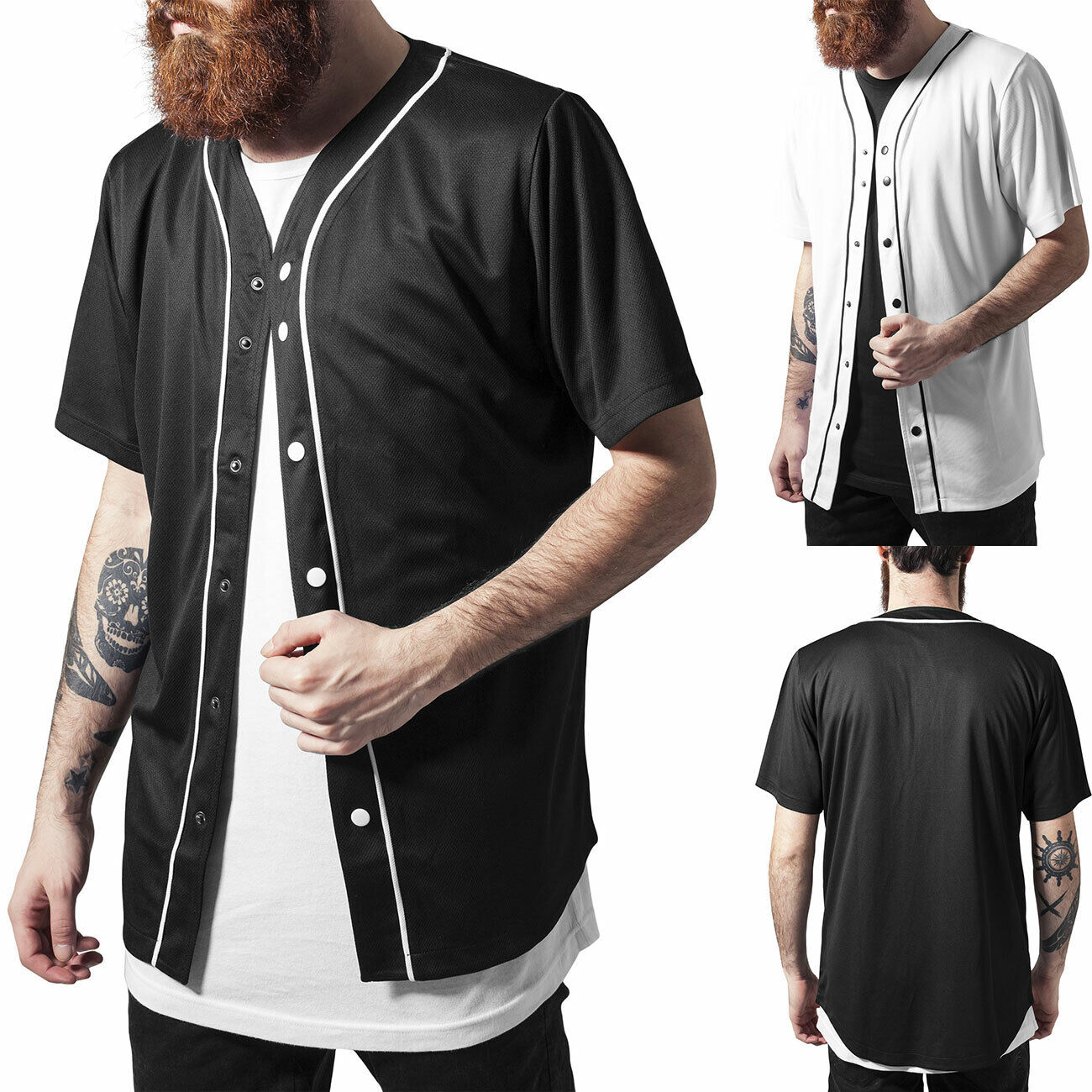 Urban Classics T-Shirt Baseball-Shirt Mesh Jersey Herren-Shirt TB1237 Neu