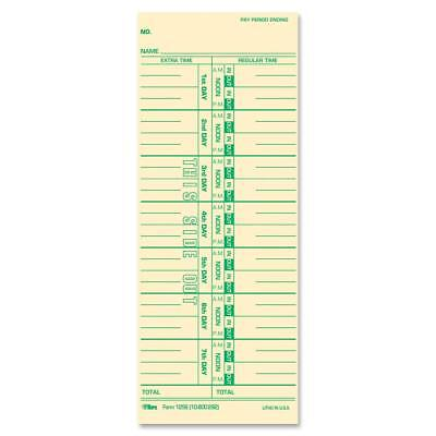 Tops Time Cards Weekly 1-sided Numbered Days 3-12 X 9 Manila Green