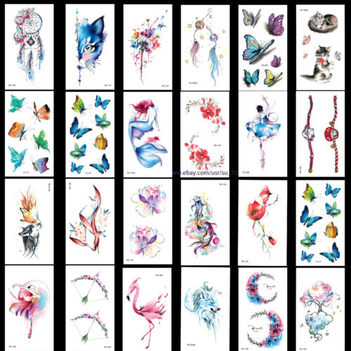 15 Sheets Flowers Butterfly Waterproof Body Temporary Tattoos Stickers US