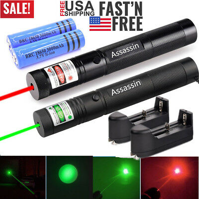 2PC 60Miles Green+Red Laser Pointer Lazer Pen Visible Beam Light Rechargeable US (2 Pointer)