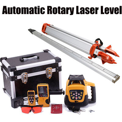 500m Range Self-leveling Rotary Red Laser Level Kit With Case Tripod Staff