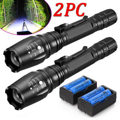 2 Sets 20000 Lumens 5 Modes T6 LED Flashlight 18650 Battery+Charger USA