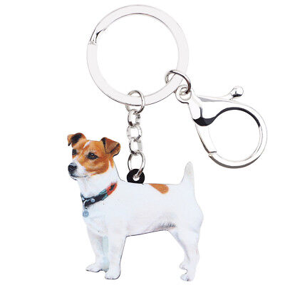 Acrylic Cute Jack Russell Dog  Keychain Ring Jewelry For Women Wallet Bag Charms