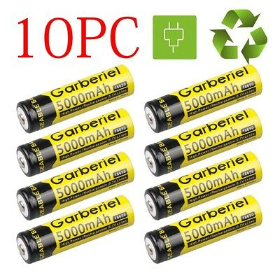 10PCS 5000mAh Garberiel Efficient BRC 3.7v Li-ion Rechargeable 18650 Battery USA