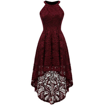 Lace Party Cocktail (Women's Halter Lace Dress High Low Hemline Formal Party Cocktail)