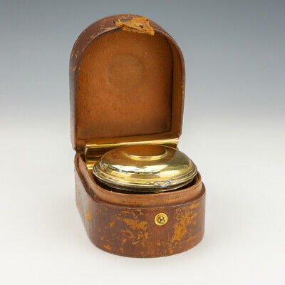 Antique Brown Leather Cased Travel Inkwell - With Ink Bottle & Paperweight
