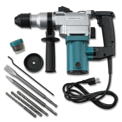"""New 1"""" Electric Rotary ROTO Hammer Drill SDS Concrete Chisel Kit w/ Bits NEW"""