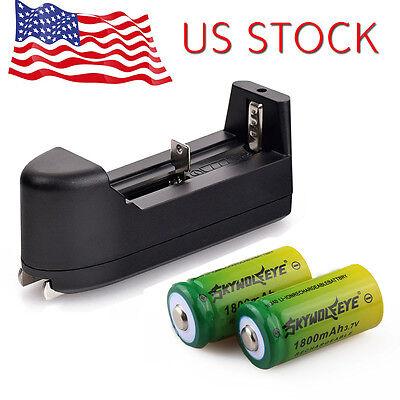 2Xskywolfeye 1800Mah Li Ion 16340 Cr123a Rechargeable Battery  Smart Charger Usa