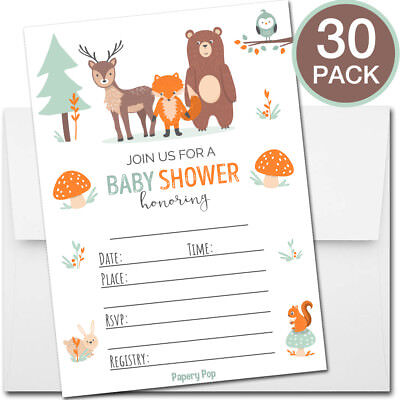 30 Baby Shower Invitations Boy or Girl (with Envelopes) - Woodland Supplies](Baby Shower Boy Invitations)