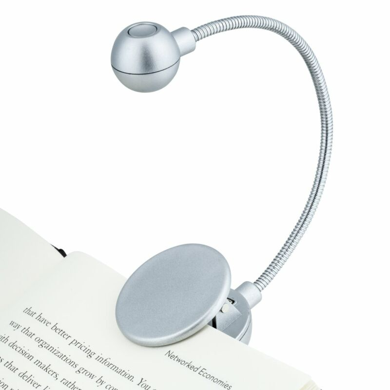 New WITHit Clip On BOOK LIGHT Silver Reading LED For Books & eReaders NIB