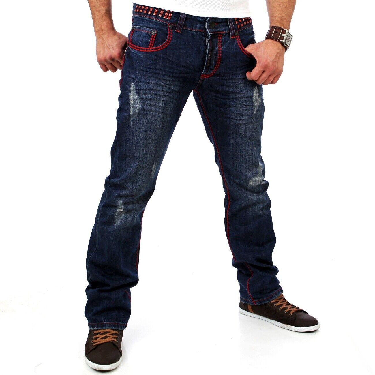 Tazzio Herren Jeanshose Männer Jeans Rote Kontrastnaht