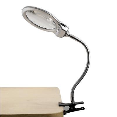 5X 2.5X Lighted Table Top Desk Magnifier Magnifying Glass With Clamp LED Light 2.5 X Lighted Magnifier