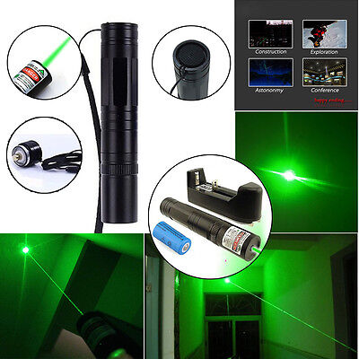 Military 10 Miles 5mW 532nm Green Laser Pointer Pen Lazer Beam Light + Battery on Rummage