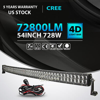 "4D+ 54""INCH 728W CREE CURVED LED LIGHT BAR SPOT FLOOD COMBO OFFROAD DRIVING 4WD"