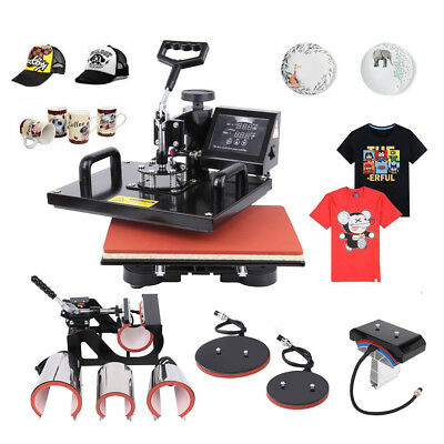 8 In 1 Heat Press Machine Combo Sublimation For T-shirts Plate Hat Cup 12x15