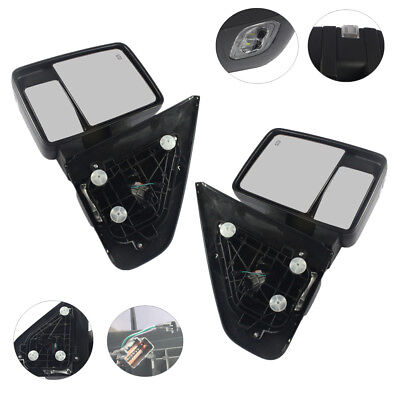 Pair Tow Mirrors Power Heated Turn Signal Puddle Lamp For 2004-06 Ford F150