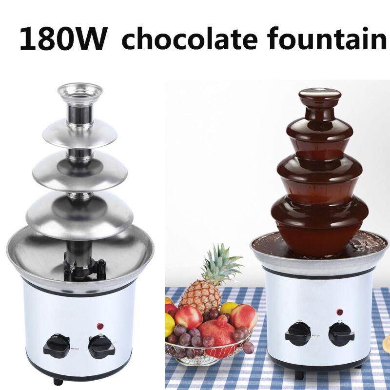 4 Tiers Chocolate Fondue Chocolate Fountain Stainless Steel