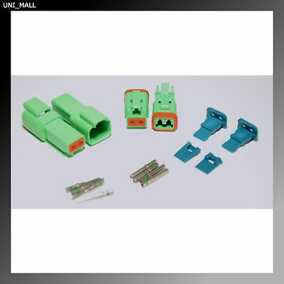 2 x AMPhenol AT Green 2-Pin Connector Kit, 14-16AWG Solid Contacts, USA