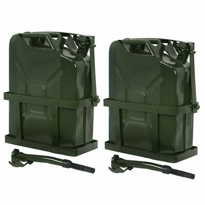 2PCS 5 Gallon 20L Gas Jerry Can Fuel Steel Tank w/ Holder Emergency Backup Business & Industrial