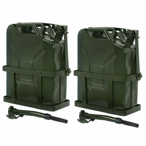 2PCS 5 Gallon 20L Gas Jerry Can Fuel Steel Tank  Emergency Backup w/ Holder