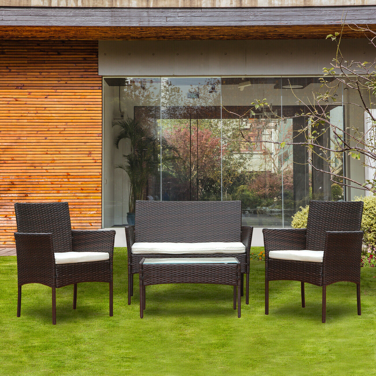 Garden Furniture - 4Pcs Rattan Garden Furniture Sofa Table Set Conservatory Patio Outdoor Brown New