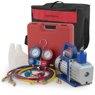 1/2HP Vacuum Pump R134a Manifold Gauge HVAC A/C Refrigerant w/ Carrying Tote