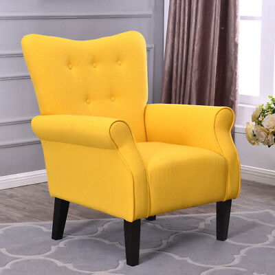 Arm Chair Emphasize Single Sofa Linen Fabric Upholstered Living Room Citrine Yellow