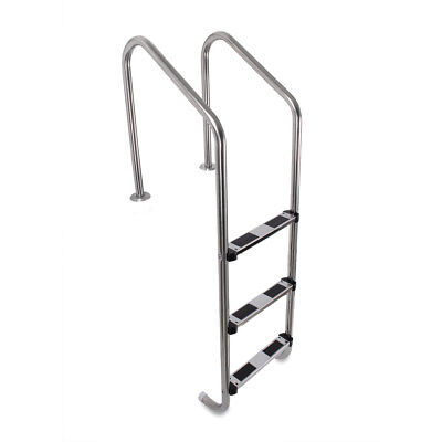 3 Step Stainless Steel In-Ground Swimming Pool Ladder Non-slip w/ Easy Mount Leg