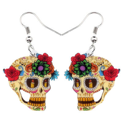 Acrylic Unique Halloween Floral Skull Earrings Dangle Festival Jewelry For Women