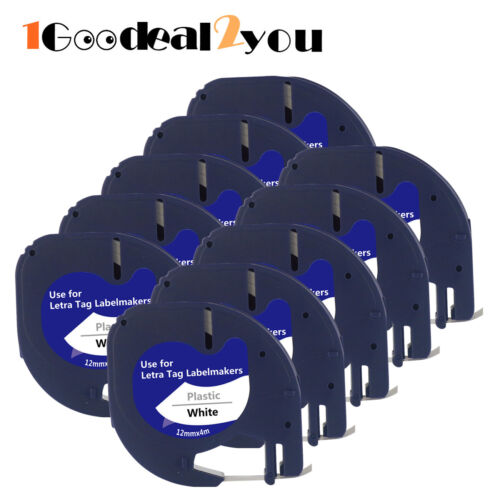 10 PK Compatible with Dymo Letratag Refill Plastic 91331 Label Tape 12mm LT-100H