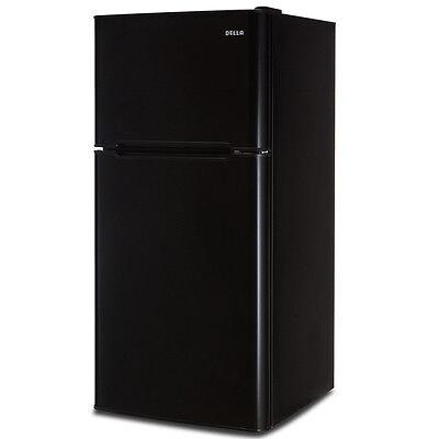 4.5 cu. Ft. Cubic Feet Compact Double Door Refrigerator and Freezer Fridge Black