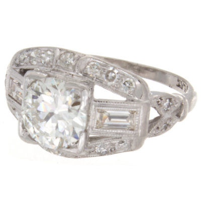 1.57ct Old European Cut GIA Certified Platinum Antique Engagement Ring 1