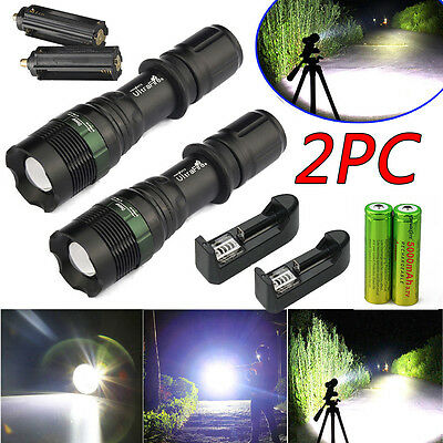 2Sets 10000Lumen Tactical T6 LED Flashlight Torch Zoomable 18650 Battery+Charger