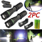 2 Sets 8000Lumen Tactical T6 LED Flashlight Torch Zoomable 18650 Battery+Charger