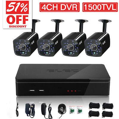 ELEC 4CH 1500TVL 960H HDMI DVR CCTV Outdoor Night Vision Security Camera System