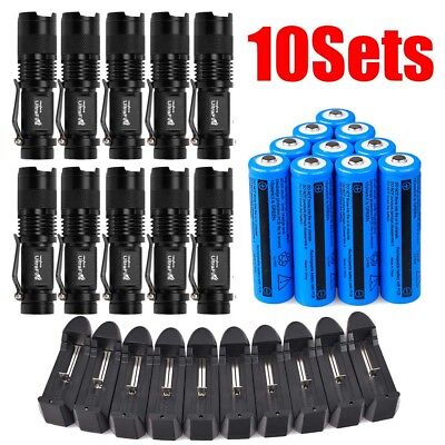 10Sets Military 20000Lumens T6 LED Zoom Focus 5Modes Flashlight Charger 18650 Ba