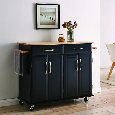 Wood Top Multi-Storage Cabinet Rolling Kitchen Island Table Cart w/Wheels, Black