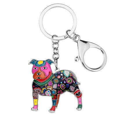 Enamel Metal Boston Terrier Pit Bull Dog Keychain Ring For Women Handbag Jewelry