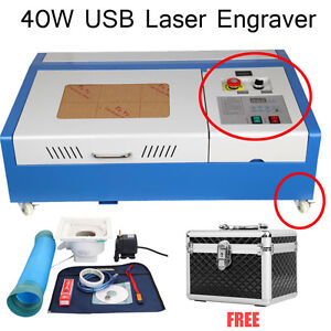4 wheel 40W CO2 Laser Cutting Cutter Engraving Machine Engraver&Free Beauty Case