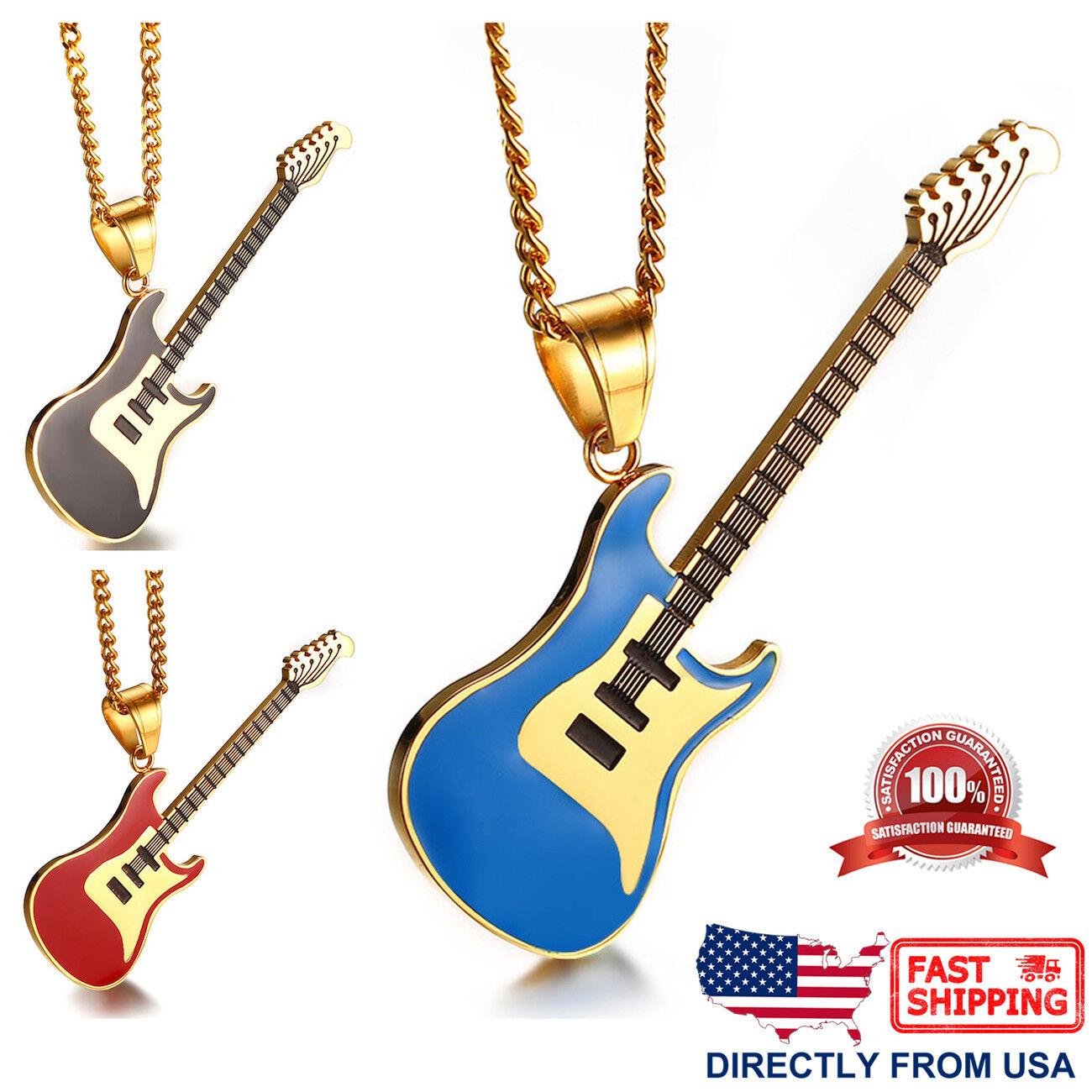 Men's Stainless Steel Gold Color Guitar Pendant Necklace Chains, Necklaces & Pendants