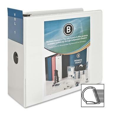 "Business Source D-Ring Binder w/ Pockets 5"" Capacity White 28445"