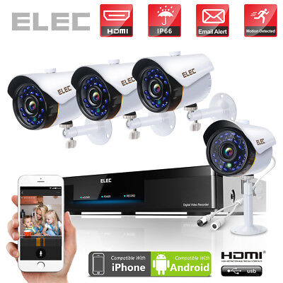 ELEC 8CH 720P DVR+ 4* 2000TVL IR Night Camera Outdoor CCTV Home Security System