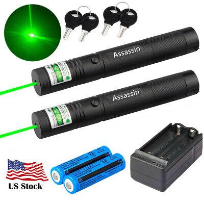 2 Pack Assassin Green Laser Pointer Rechargeable 600Miles Pen 532nm+Batt+Char Rechargeable Batt Pack