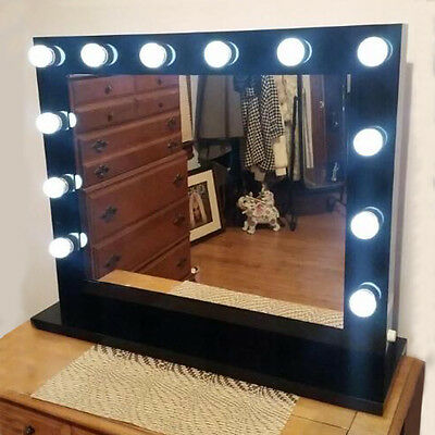 Large Vanity Mirror with Light Hollywood Style Makeup Mirror with dimmer + Bulbs