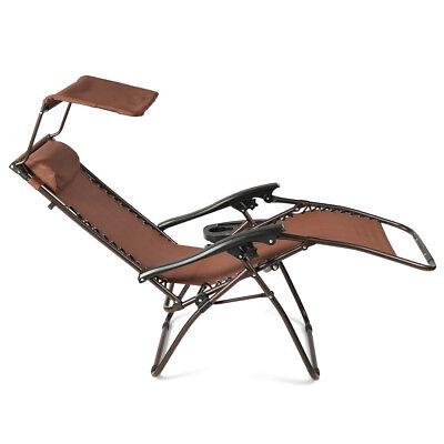 NEW Zero Gravity Folding Lounge Beach Chairs W/ Canopy Magaz