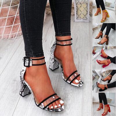 WOMENS LADIES ANKLE STRAP PEEP TOE HIGH BLOCK HEEL SANDALS FASHION SHOES Ankle Strap Peep Toe Heels