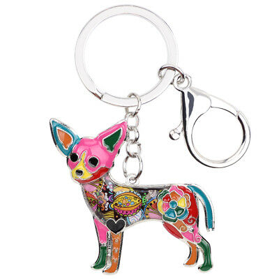 Enamel Alloy Chihuahua Dog Keychain Key Ring For Women Handbag Fashion Jewelry