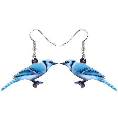 Acrylic Sweet Blue Jay Bird Earrings Drop Novelty Animal Jewelry For Women Gifts