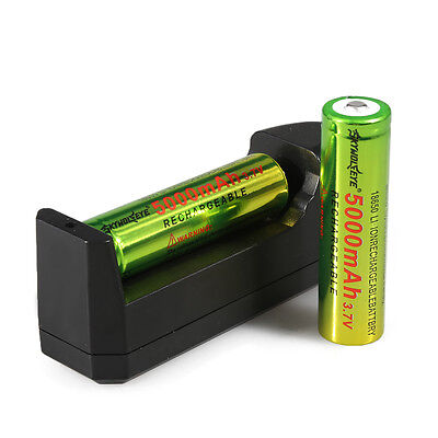 2PCS 18650 3.7V 5000mAH Li-ion Rechargeable Battery + Charger For Flashlight USA